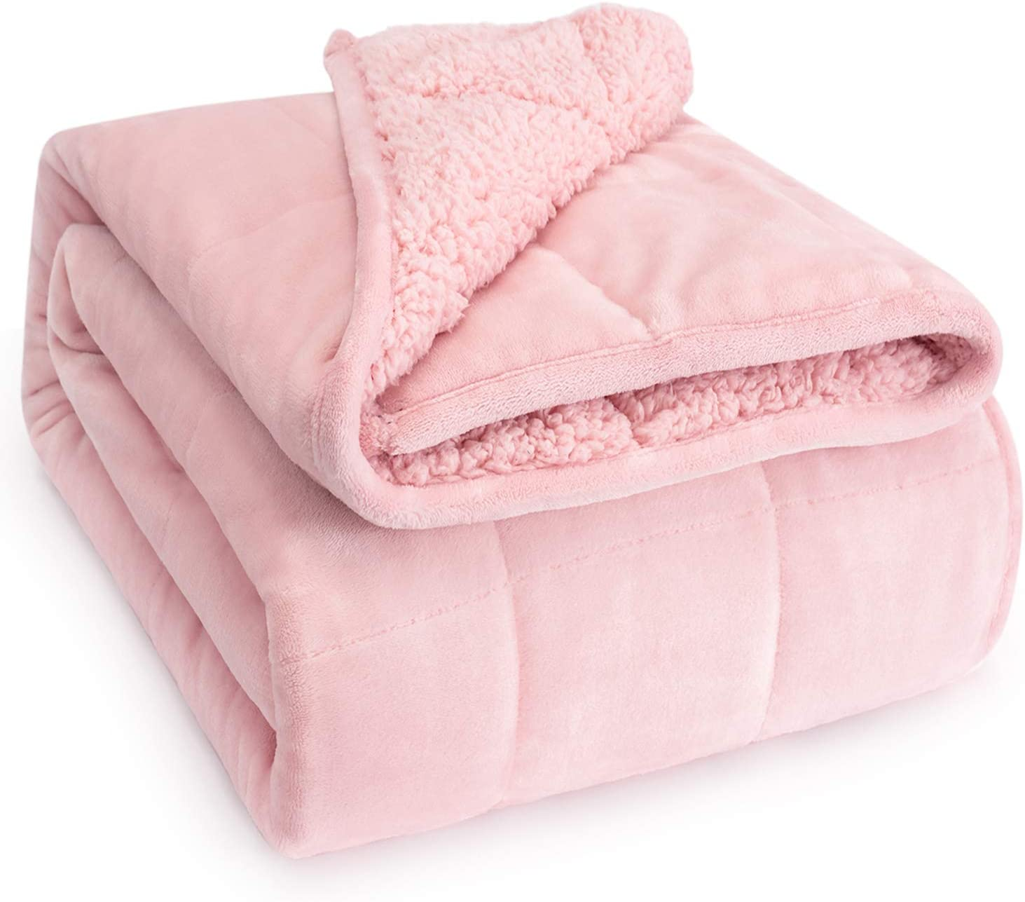 Wemore Sherpa Fleece Weighted Blanket For Adult 15 Lbs Dual Sided Cozy Fluffy Heavy Blanket Burgundy