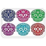 VROSELV Custom Door MatDay Of The Dead Decor Skull Oriental Mexican Sugar for Festive Purple Fuchsia Indigo Turquoise Green