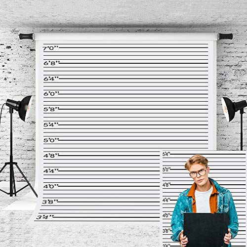 Little Lucky 5x7ft Police lineup Photography Backdrop Black line Mugshot Decor Photo Background for Photographer Bachelorette Party Children Game Prop Backdrops Shoot Studio