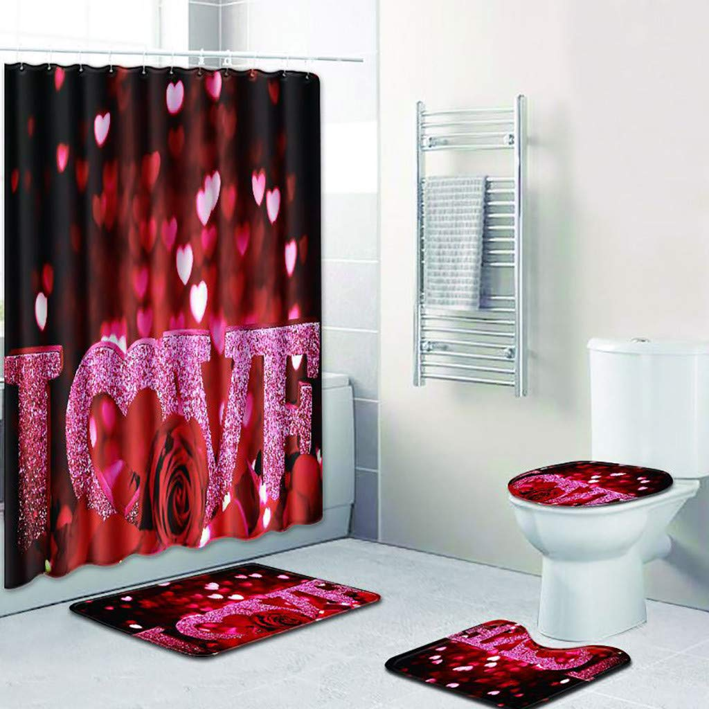 OrchidAmor 4PCS Sea Style Non Slip Toilet Polyester Cover Mat Set Bathroom Shower Curtain