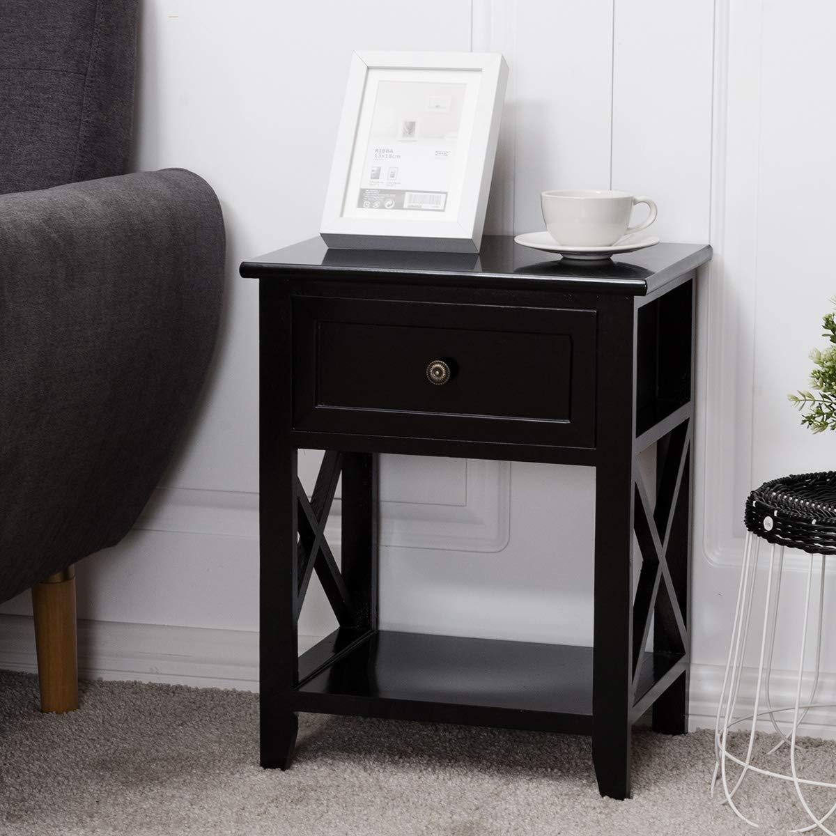 Giantex 2 Pcs Nightstand End Bedside Table Home Bedroom Furniture X-Shape W/Bottom Open Shelf Drawer, Black by Giantex (Image #2)