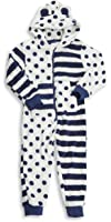 ONEZEE Infants Childrens Girls Novelty All In One Hooded Jumpsuit Stripe Spots