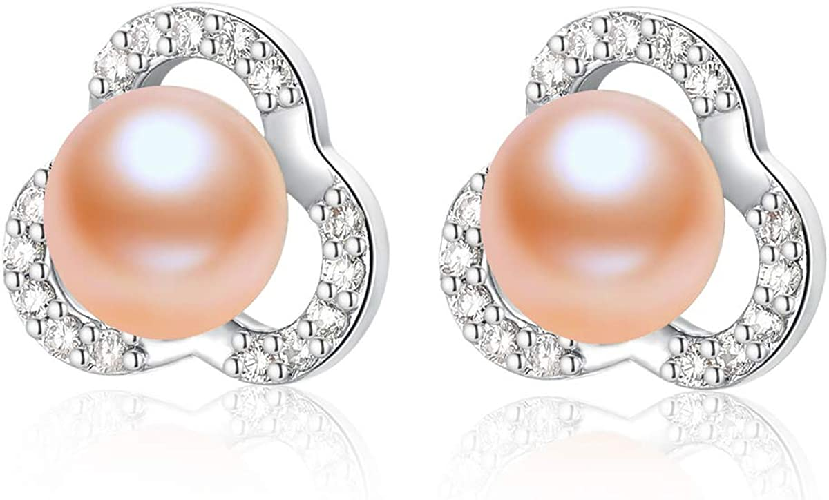 Pearl Earrings Swan Earrings White Pearl earrings Pearl jewelry Earring studs Bride gift Freshwater pearl high luster Good quality Jewelry