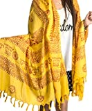 Large Om Scarf Wrap Yoga 100% Soft Cotton Hand Printed Mantra Prayer Boho Bohemian Yoga Yellow White Black & Blue (Yellow)