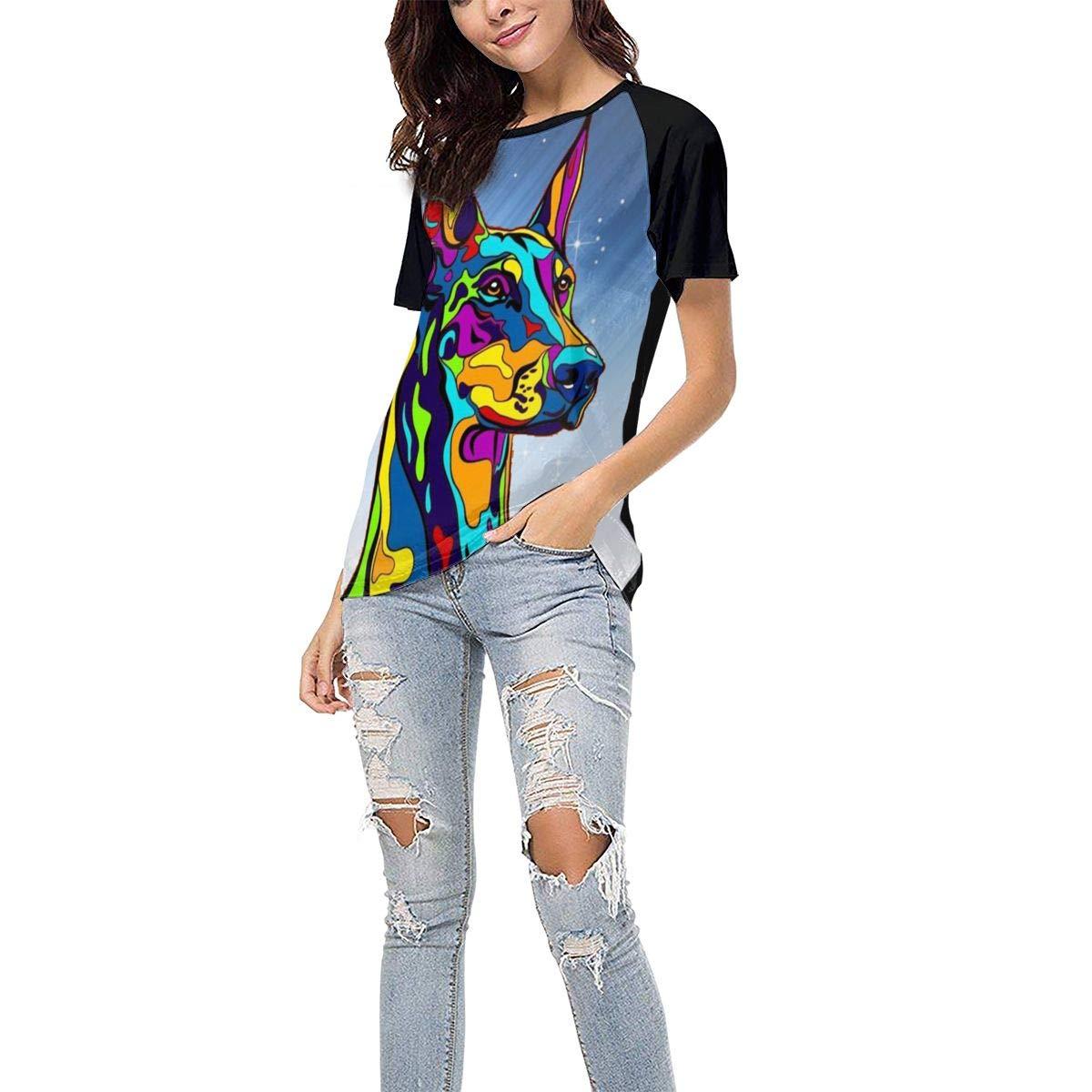 QWXZC Multi-Color Doberman Pug Womens Short Sleeves Baseball Tee Casual Raglan Shirt Baseball Raglan T-Shirt.Black.