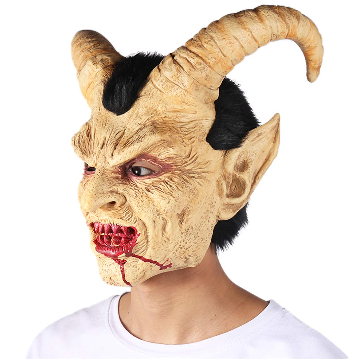 FITMAKER Halloween Novelty Horror Mask Costume Party Cosplay Lucifer Head Mask for Halloween