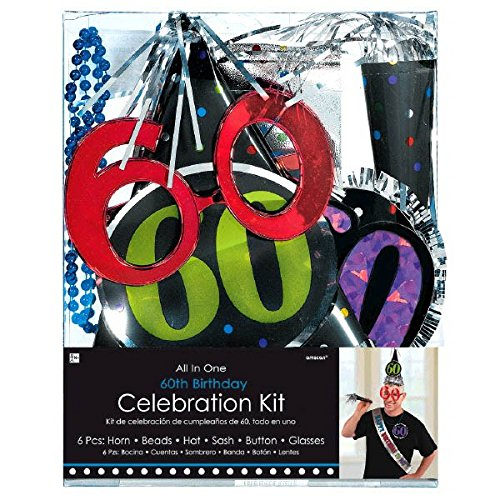 The Party Continuous 60th Birthday Party Accessory Kit , Pack of 6, Blue/Green/Black/Silver/Purple , 8.7