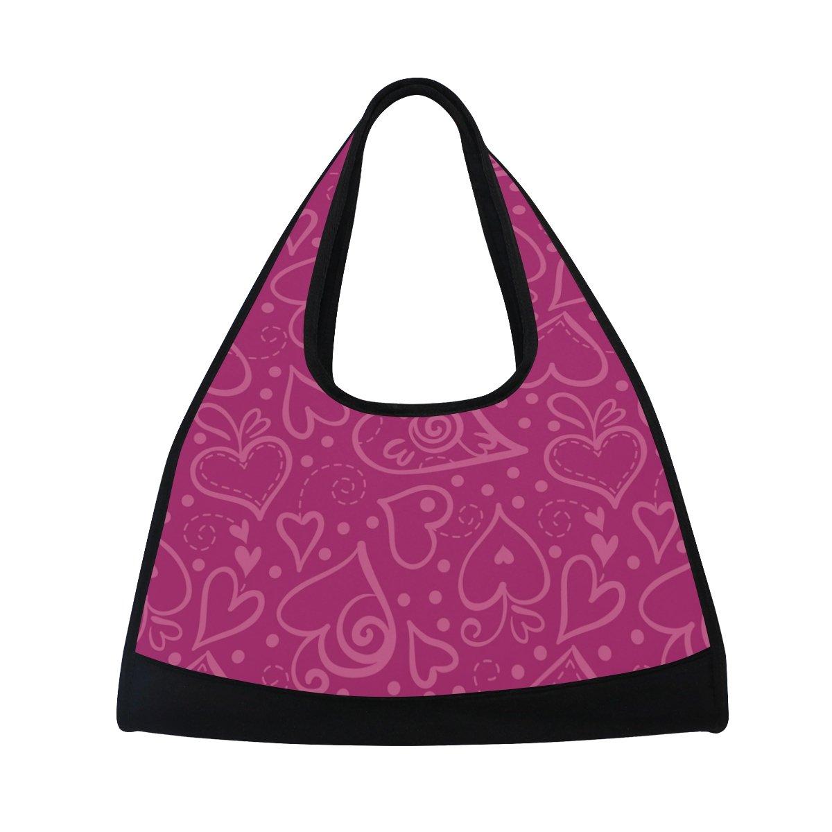 AHOMY Sports Gym Bag Purple Love Heart Duffel Bag Travel Shoulder Bag