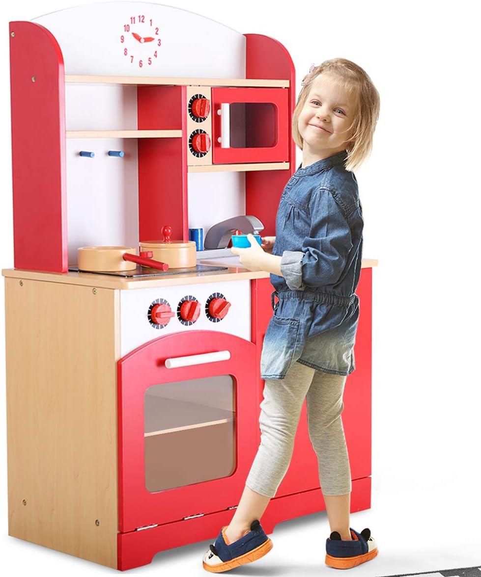 Goplus Holz Küche Spielzeug Kinder Kochen Pretend Play Set