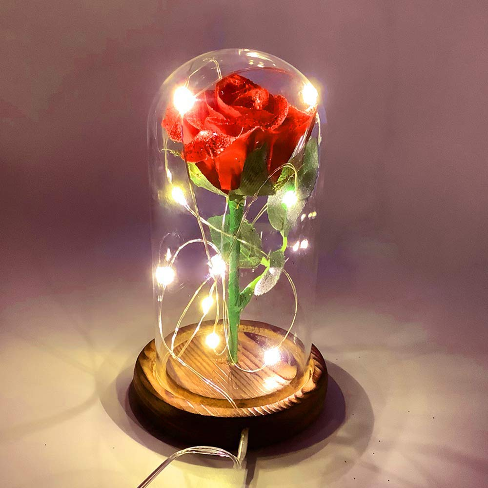 URBANSEASONS Beauty and The Beast Rose, Red Silk Rose That Lasts Forever in a Glass Dome with LED Lights,Gift for Mothers Day Valentine's Day Wedding Anniversary