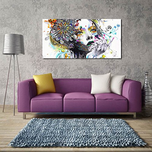 SOURBAN Girl Flower Butterfly Colour Cartoon Figure Painting Abstract Drawing Spray Oil Painting Canvas Home Decor Frameless Art