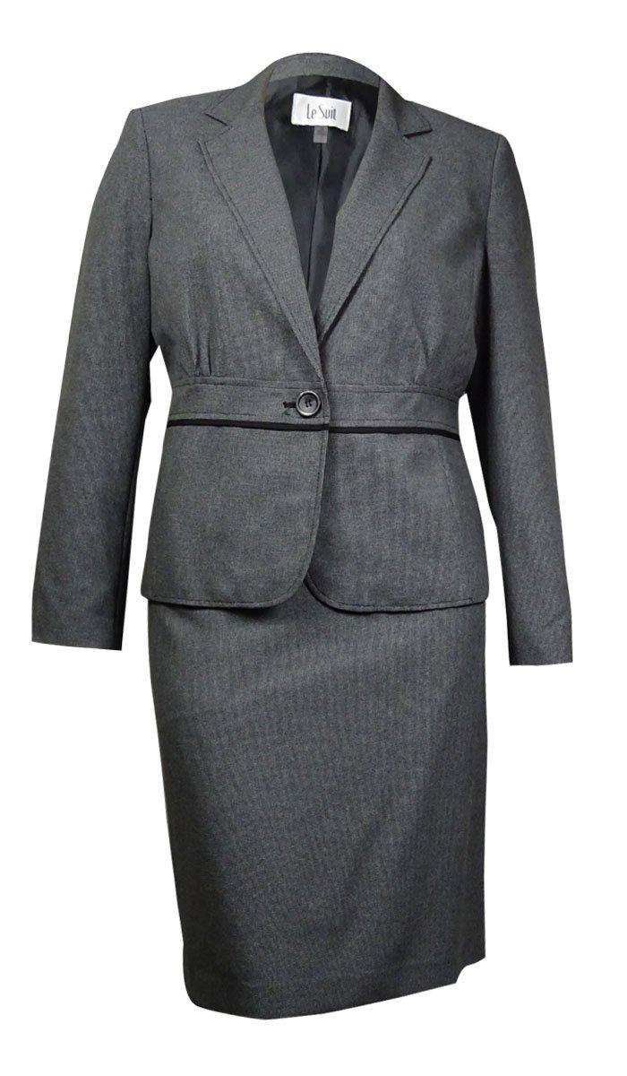 Le Suit Women's Plus-Size 1 Button Notch Lapel End On End Jacket and Skirt Set, Black, 14W