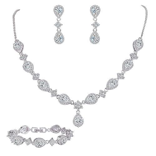 EleQueen Women's Silver-tone Cubic Zirconia Teardrop Flower Bridal V-Necklace Set Tennis Bracelet Da...