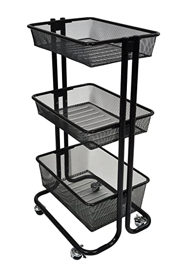 Luxor 3 Shelf Home Storage Rolling Kitchen Utility Cart Steel   Black