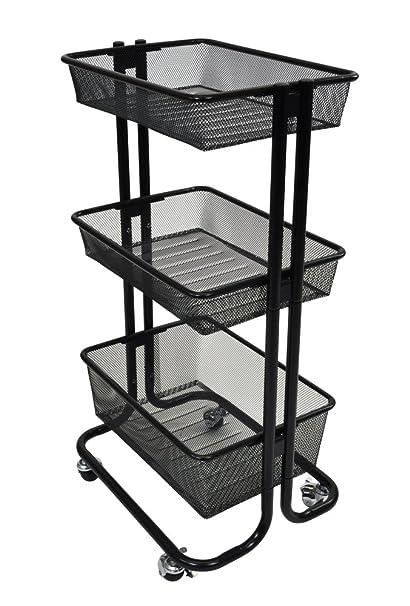 Amazon.com: Luxor 3 Shelf Home Storage Rolling Kitchen Utility Cart ...