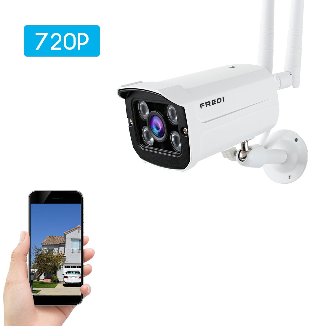 FREDI Wireless Security Camera system,720p WiFi Wireless IP Bullet Camera WIFI Surveillance Camera Outdoor(Weatherproof)