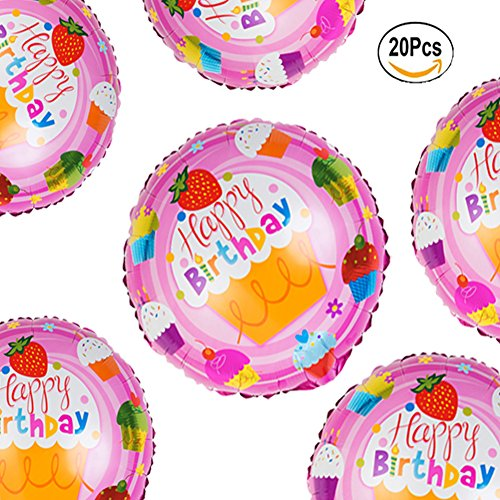 18 inch Pink Happy Birthday Cupcake Foil Mylar Balloons Baby Shower Party Supplies, 20 Pcs (18 Inch Happy Birthday Cake)
