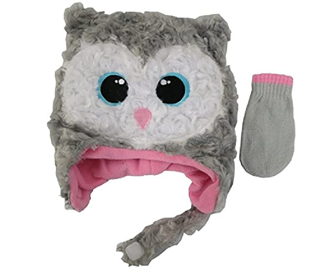 Amazon.com  Infant Toddler Girls Gray   Pink Owl Hat   Mittens Set ... c518e10fa2a
