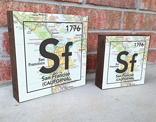 San Francisco California Sf City Vintage Periodic Chart Map Art Print on Wooden Block, Home & Wall Decor, Wedding-Housewarming - Birthday - Valentines Day - Christmas gift for her Block City Map Art