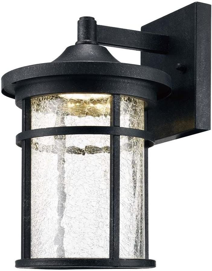Home Decorators Collection Aged Iron Outdoor LED Wall Lantern with Crackle Glass