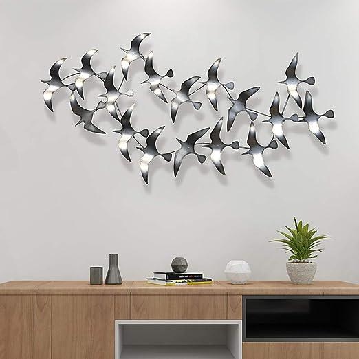 Dreidimensionale Metall Hintergrund-Wanddekoration Einfach Zu Installieren129*65Cm WLHER Metall Wanddekoration Statuen Vogelschwarm Streiten in Den Himmel