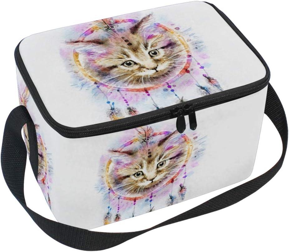 Strand Camping Picknick Ahomy K/ühltasche mit Rei/ßverschluss Katze Aquarell Traumf/änger gro/ße isolierte Lunchbox Tasche f/ür Outdoor