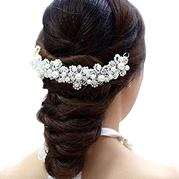 Contever® Mariée Bijoux de Cheveux Cristal Perle Fleur Coiffure Tiare -- Blanc