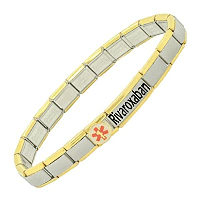 Gold Trim Rivaroxaban User Stainless Steel Medical Alert Bracelet nccwVyz1k