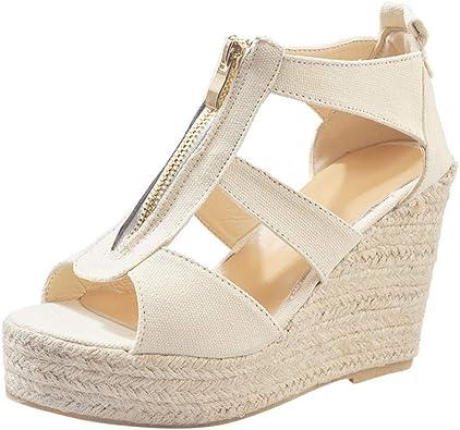 DOLDOA Sandales Bout Ouvert Femme Chaussures Femme ete