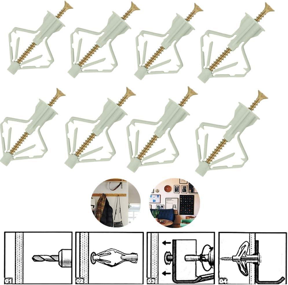 installation de rideaux(100set) kit dancrage /à paroi creuse auto-forant en plastique pour plaques de pl/âtre ZHITING Ancrage pour cloisons s/èches avec ensembles de vis en acier inoxydable