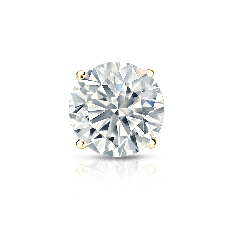 18k Yellow Gold 4-Prong Basket Round Diamond SINGLE STUD Earring (1/5 ct, O.White, I2-I3)