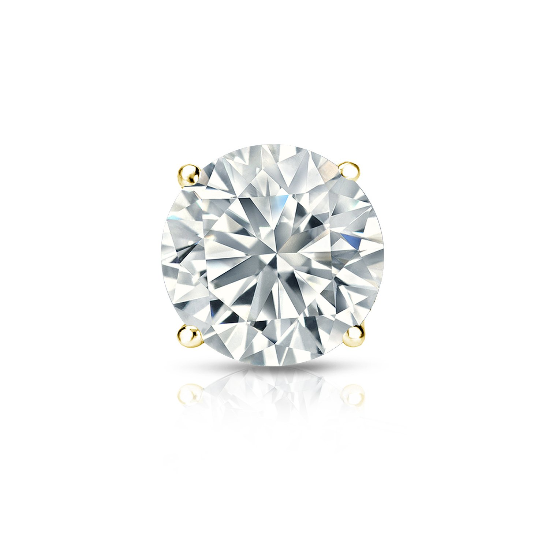 Diamond Wish 14k Yellow Gold Round Diamond SINGLE STUD Earring (1/4cttw, H-I, I1-I2) 4-Prong Basket, Screw-Back