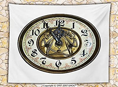 Clock Decor Fleece Throw Blanket Antique Theme a Vintage Clock with a Face on It Stylish Decorative Pattern Throw Gold and White