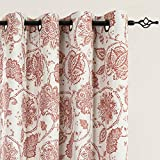 red patterned curtains  Floral Scroll Printed Linen Textured Curtains Grommet Top Ikat Flax Textured Medallion Design Jacobean Room Darkening Curtains Retro Living Room Window Covering Poppy Red 84 inch Two Panels