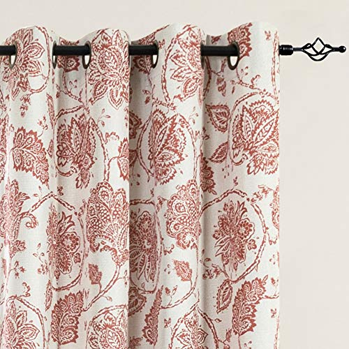 Floral Scroll Printed Linen Textured Curtains Grommet Top Ikat Flax Textured Medallion Design Jacobean Room Darkening Curtains Retro Living Room Window Covering Poppy Red 84 inch Two Panels