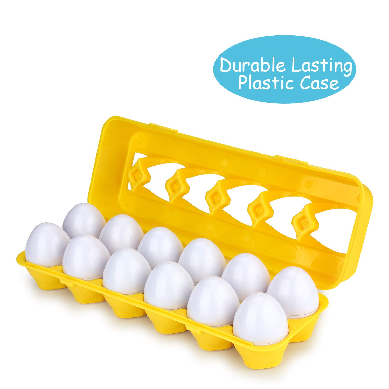 Educational Color Recognition Skills Learning Anleolife Color Shape Matching Egg Set Preschool Montessori Toys for Toddler Games