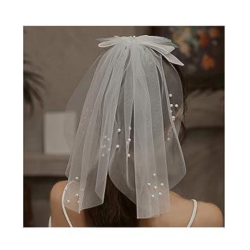 bridal hair bow white pearl veil bridal shower veil wedding hair bow tulle veil short wedding veil Bow veil bridal veil