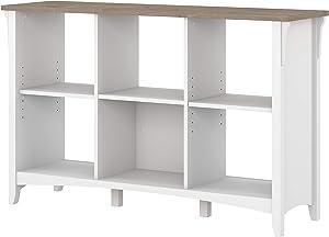 Bush Furniture Salinas 6 Cube Organizer, Pure White and Shiplap Gray