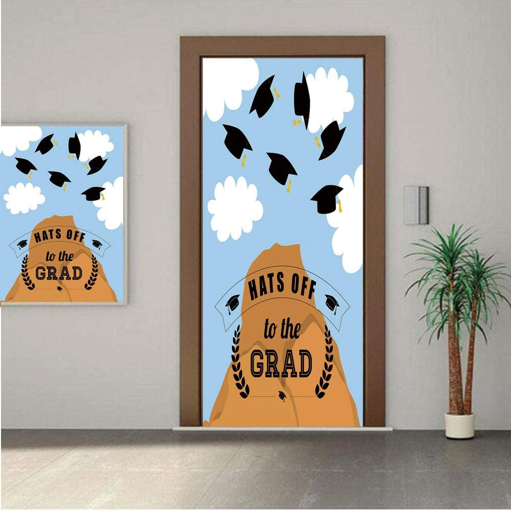 "Graduation Decor ONE Piece Door Stickers,Mountain Hill and Thrown Caps in Sky Conceptual Art Icons Hats Off Grad Decorative 28x80"" Peel & Stick Removable Wall Mural,Decal,Poster for Door/Wall/Fridge H"