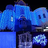 JOYOOO LED curtain light 33 m 304 lights droop 16 LED lamps for decoration of windows,Facade, terraces, bars, Christmas, Valentine's Day, wedding,and many more (blue)