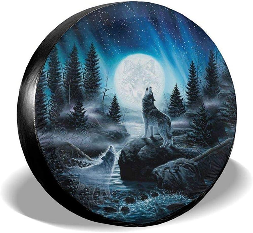 Hiram Cotton Reserveradabdeckung Wolf Moon Art Reserveradabdeckung Wasserdichte Universal Reserveradabdeckung Fit Für Jeep Trailer Rv Suv Und Viele Fahrzeug 14 17 Zoll Auto