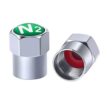 Green N2 Tire Valve Caps Chrome Air Dust Covers with Rubber Seal Hexagon Easy Grab Universal fit Car SUV Motorcycle Truck and Bike Screw on Leakproof Airtight Dustproof (6-Pack): Automotive