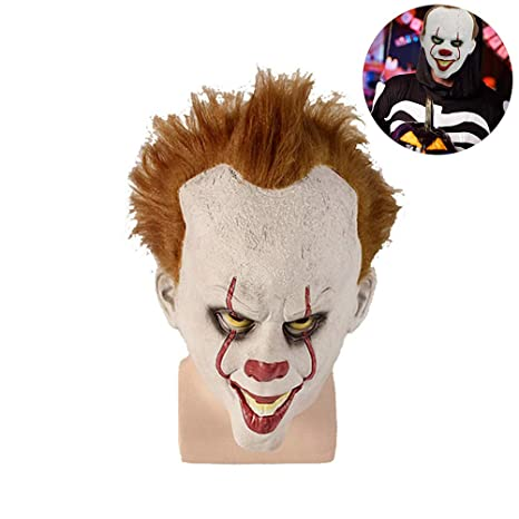 Yissma Pennywise Mask, Scary Clown Mask con Peluca Deluxe Mask It White-Orange Talla única, Talla única