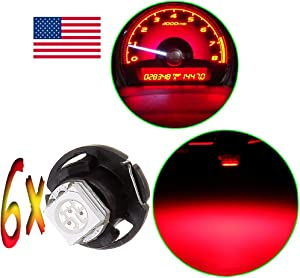 Frontl T5 Neo Wedge Dash Light Bulbs Red 1-5050-SMD 12mm LED Light Bulbs Instrument Panel Gauge Cluster Lights,6Pack