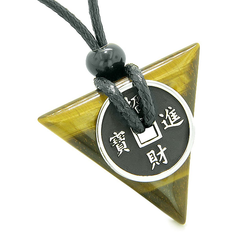Amulets Lucky Coin Triangle Magic Powers Black Agate Tiger Eye Love Couples or Best Friends Necklaces