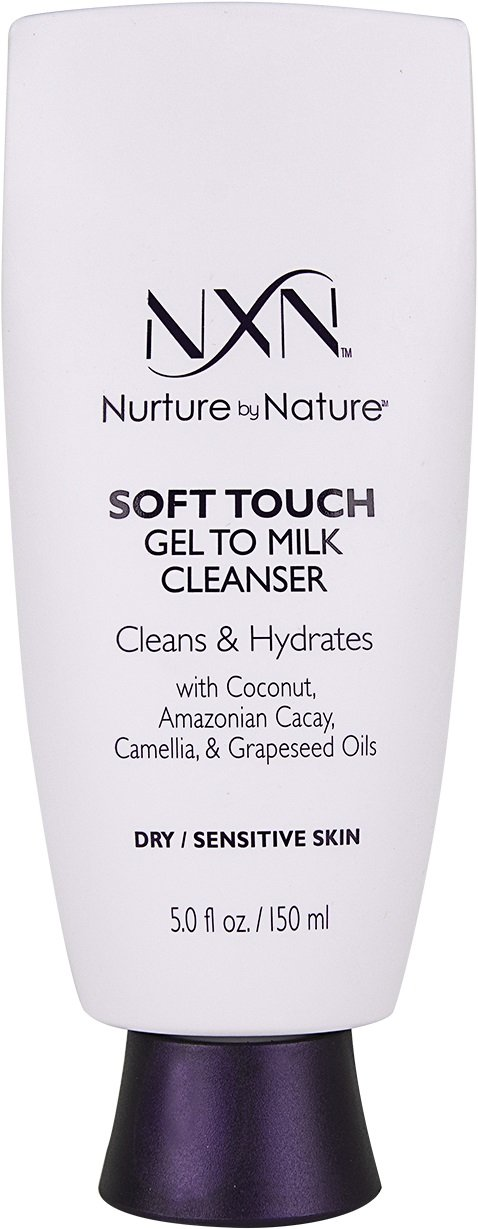 NxN Soft Touch Gel-to-Milk Cleanser Double Cleansing Face Wash Natural Anti-Aging Formula for Dry/Sensitive Skin, 5.0 Fl Oz
