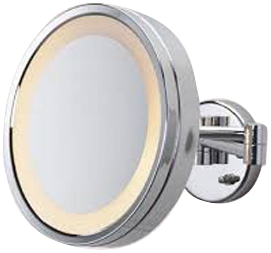 See All HLCSA1095 Halo Lighted 9 3/4-Inch Diameter Wall Mounted Make Up Mirror 5X, Chrome by SeeAll