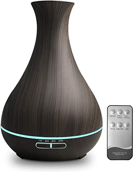Amazon Com Kbaybo 550ml Aroma Diffuser Essential Oil Diffuser With Remote Control Ultrasonic Air Humidifier With Wood Grain 7 Color Led Night Light For Office Home Spa Yoga Bpa Free Home Kitchen