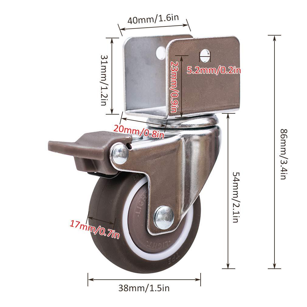 KDDEON 4 Ruote Girevoli Gomma,1.5in 38mm Ruote per Mobili,con Freno,con Cuscinetti A Sfera e Viti,75kg