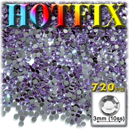 The Crafts Outlet DMC HOTFIX Glass 720-Piece Round Rhinestone Embellishment, 3mm, Lavender Light Purple